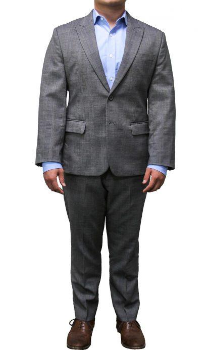 100% Merino Wool Light Gray Plaid Suit